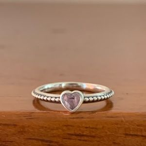 Pandora Sterling Silver Pink Heart Beaded Ring